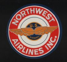 Old airline label luggage labels Northwest Airmail #347